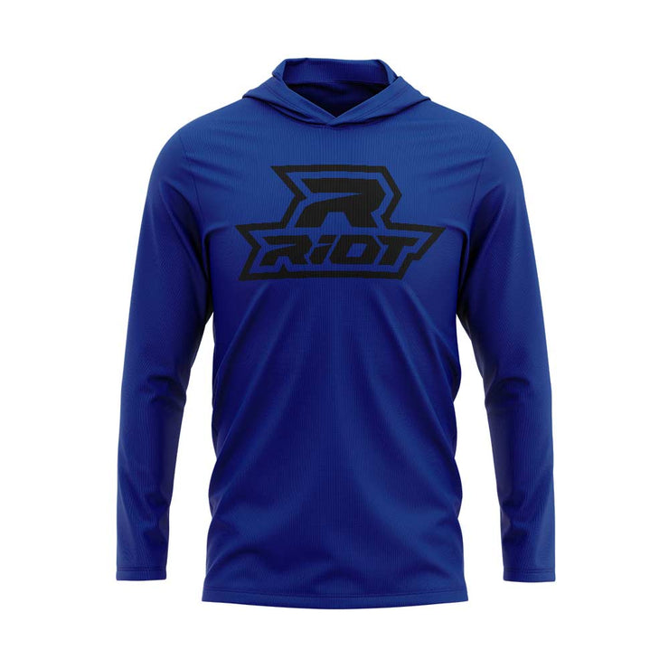Royal Blue Hooded Long Sleeve Shirt with Black Riot Logo