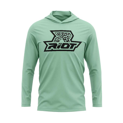 **NEW** Seafoam Green Hooded Long Sleeve Shirt with Riot Logo - Choose your Logo