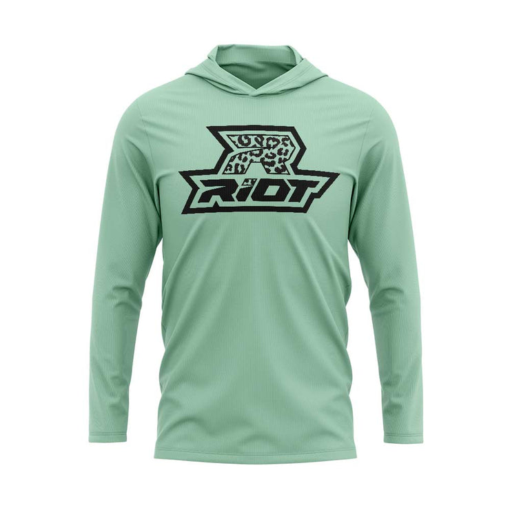 Seafoam Green Hooded Long Sleeve Shirt with Riot Logo - Choose your Logo