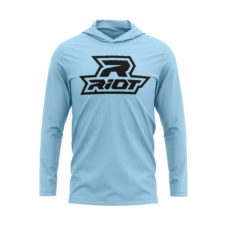 Sky Blue Hooded Long Sleeve Shirt with Riot Logo - Choose your Logo