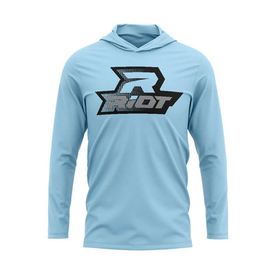 **NEW** Sky Blue Hooded Long Sleeve Shirt with Riot Logo - Choose your Logo