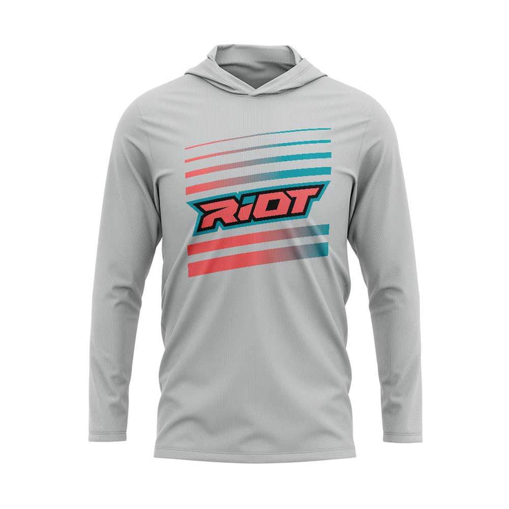Teal/Salmon Riot Striped Logo