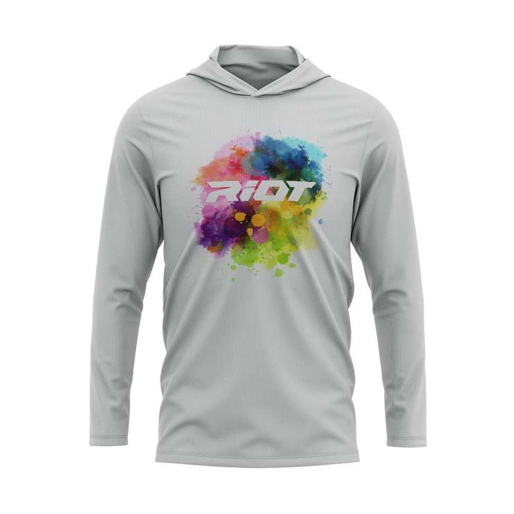 Silver Hooded Long Sleeve Shirt with Riot Watercolor Logo