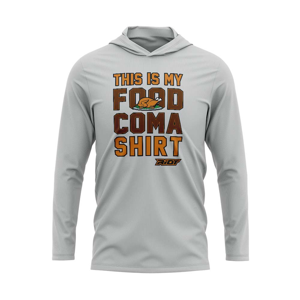 Silver Hooded Long Sleeve Shirt with Riot Food Coma Logo