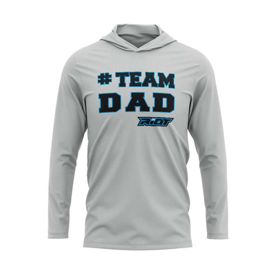 **NEW** Silver Hooded Long Sleeve Shirt with Riot #Team Dad Logo