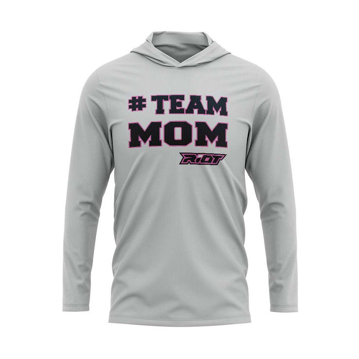 Silver Hooded Long Sleeve Shirt with Riot #Team Mom Logo