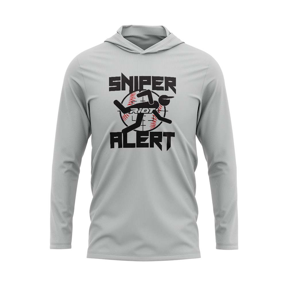 **NEW** Silver Hooded Long Sleeve Shirt with Sniper Riot Logo
