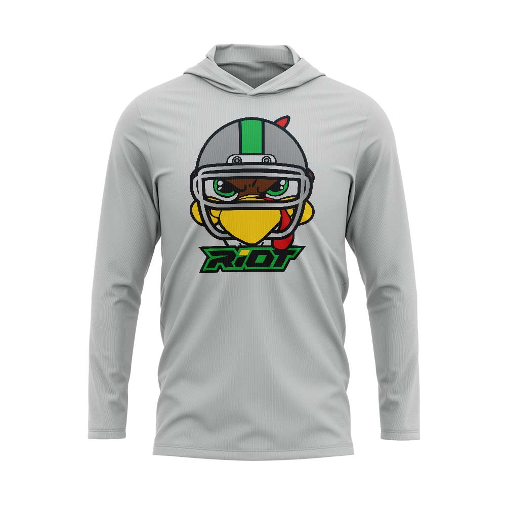 Silver Hooded Long Sleeve Shirt with Riot Football Turkey Logo - Choose your color logo