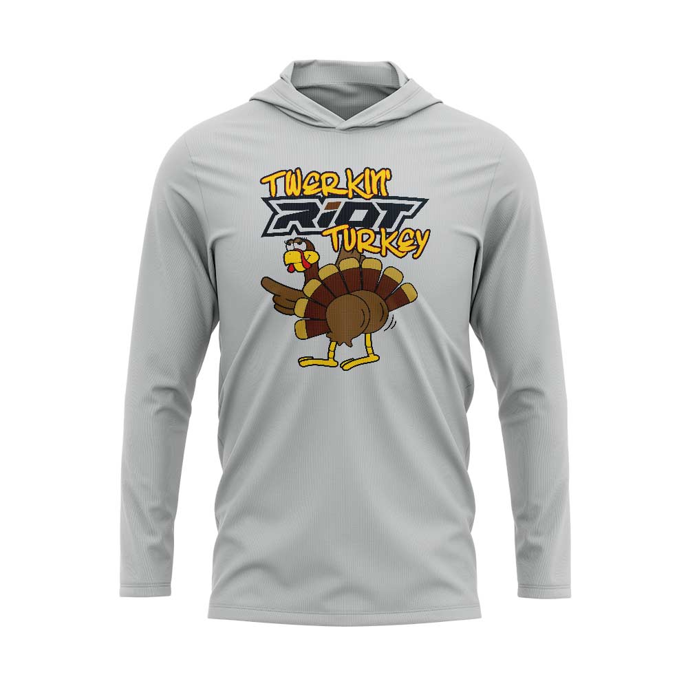 Silver Hooded Long Sleeve Shirt with Riot Twerkin' Turkey Logo