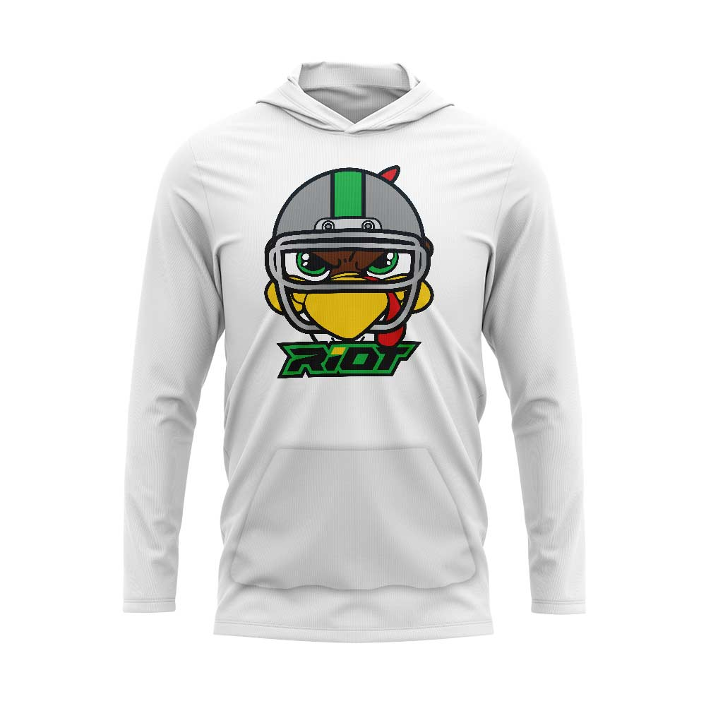 White Hooded Long Sleeve Pocketed Shirt with Riot Football Turkey Logo - Choose your color logo