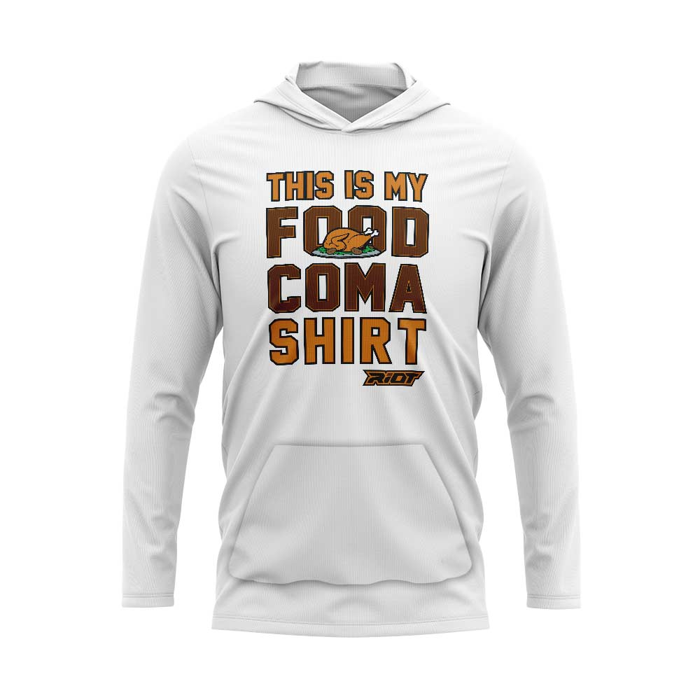White Hooded Long Sleeve Pocketed Shirt with Riot Food Coma Logo