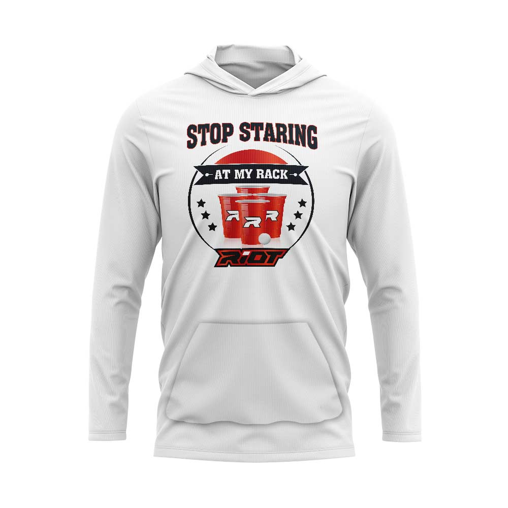 White Hooded Long Sleeve Pocketed Shirt with Riot Stop Staring Logo