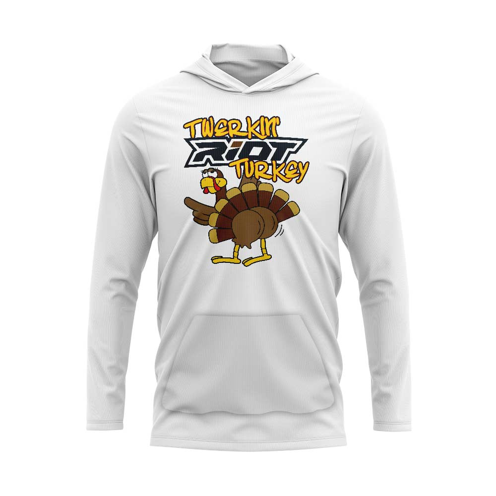 White Hooded Long Sleeve Pocketed Shirt with Riot Twerkin' Turkey Logo