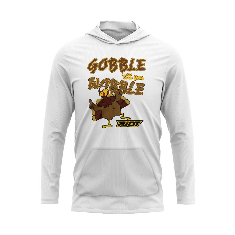 White Hooded Long Sleeve Pocketed Shirt with Riot Gobble Wobble Logo