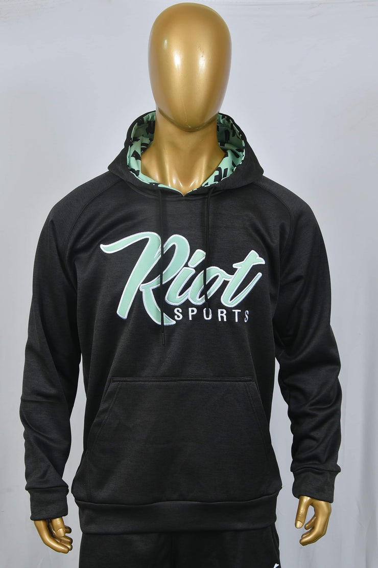 Black Heather hoodie with mint green Riot