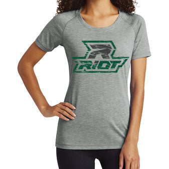 **New** Forest Green/Light Grey Heather Athletic Triblend T-Shirt - Riot Logo - Choose your Shirt Style