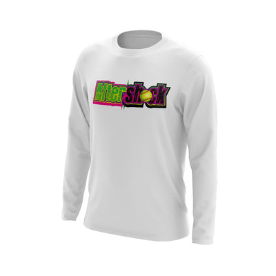 White Long Sleeve Shirt with Aftershock 9U Logo