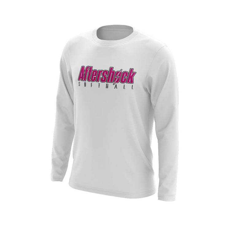 White Long Sleeve Shirt with Aftershock 8U Pink Logo