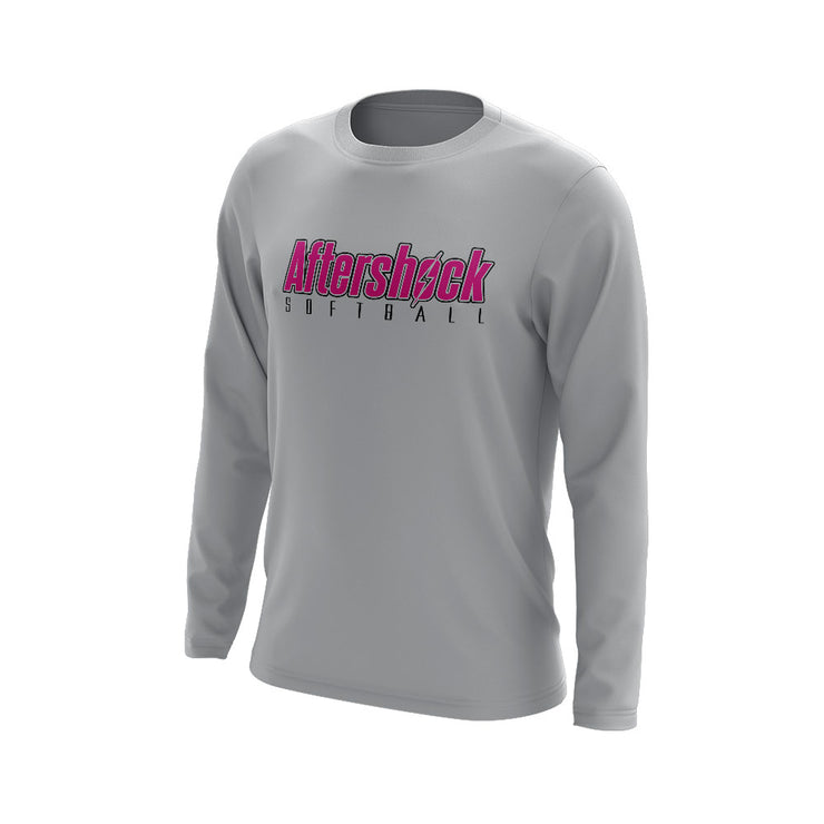 Grey Long Sleeve Shirt with Aftershock 8U Pink Logo
