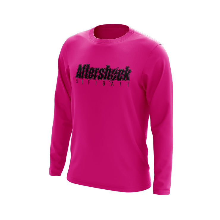 Neon Pink Long Sleeve Shirt with Aftershock 8U Black Logo