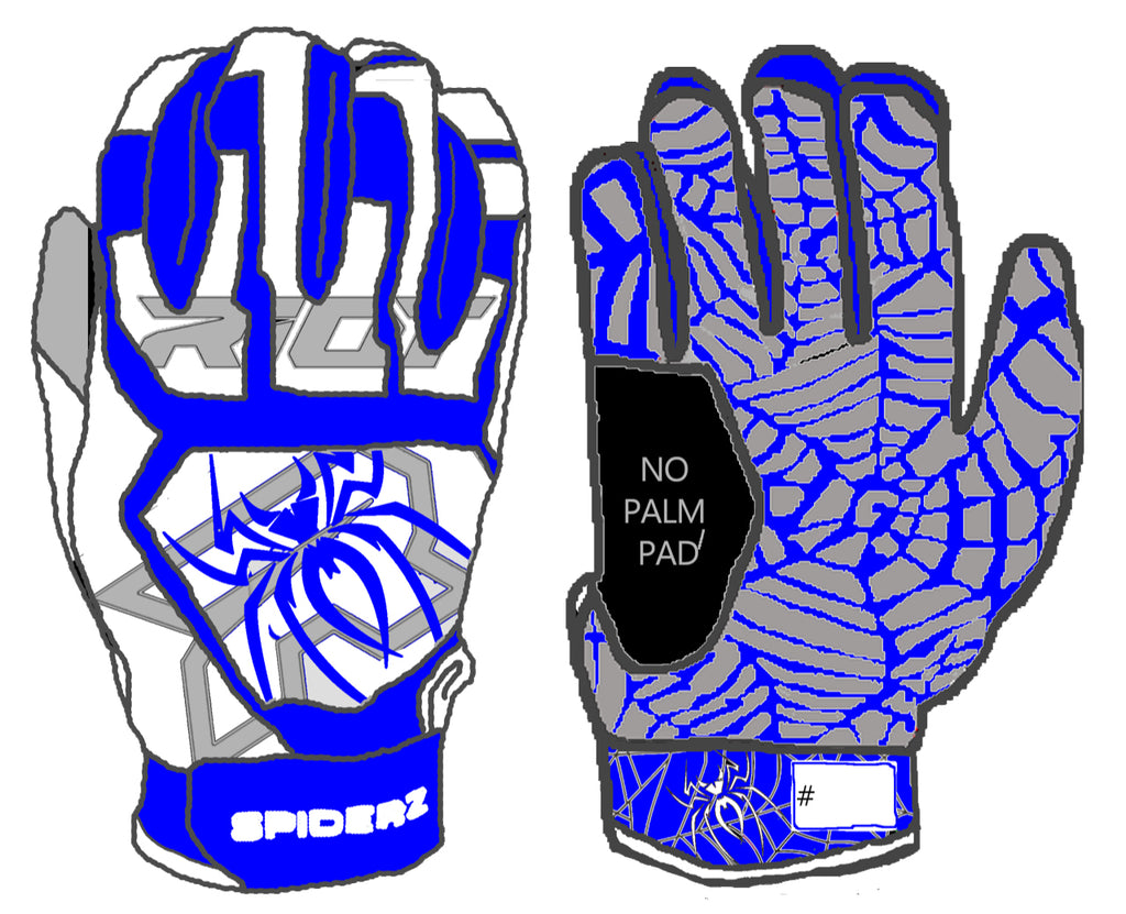 Spiderz Web Series Riot White/Royal Blue Batting Gloves (no palm pad)