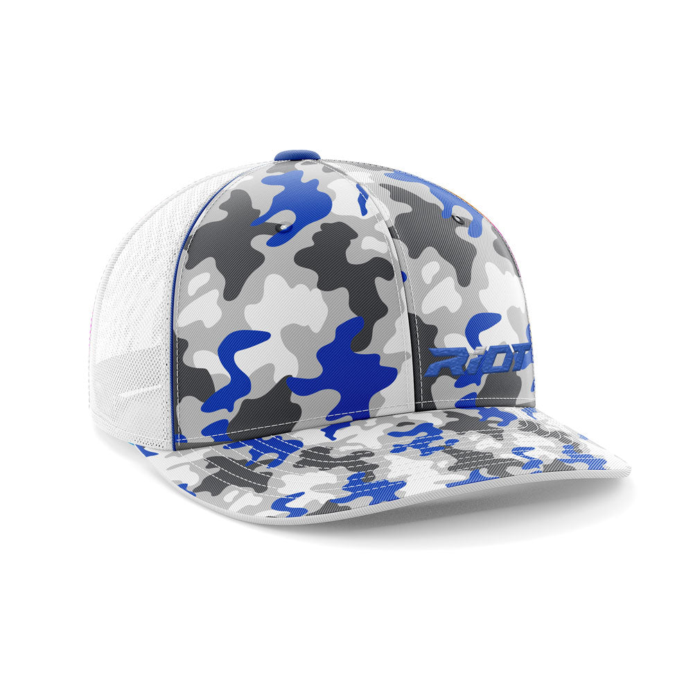 e9eb188d09a Blue Camo Hat (402F) with Blue Riot Logo – Riot Sports Gear