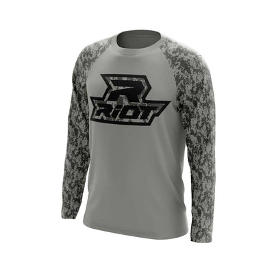 Grey Digi Camo Long Sleeve Shirt with Black Digi Riot Logo
