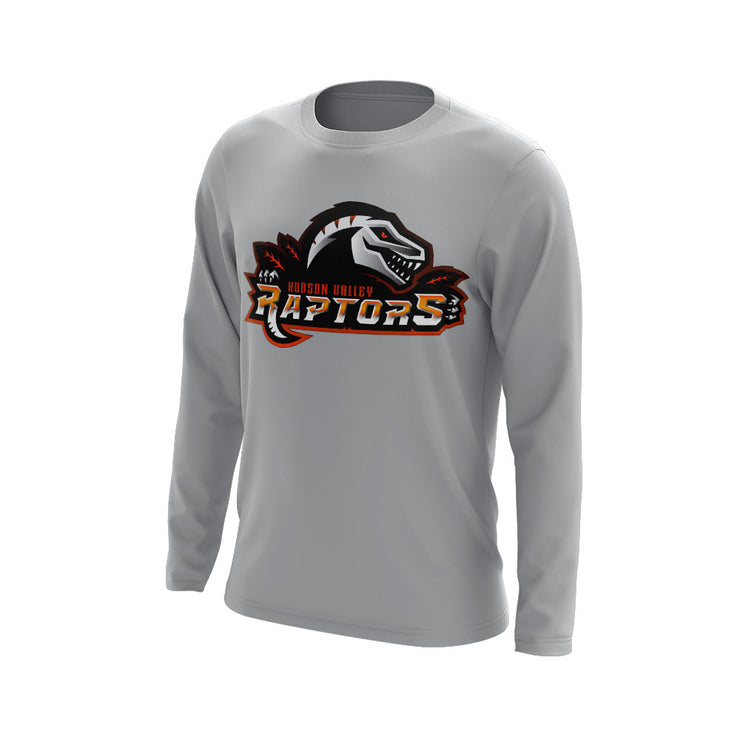 Hudson Valley Raptor Mascot Long Sleeve Grey Semi Dye