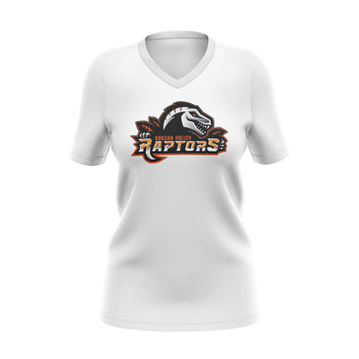 Hudson Valley Raptor Mascot White V-Neck Semi Dye
