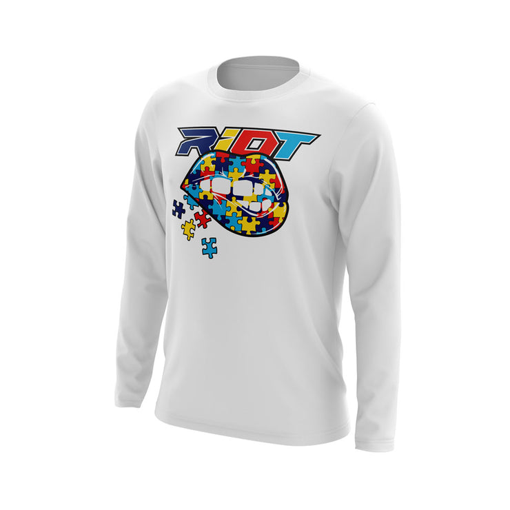 White Long Sleeve with Autism Lips Riot Logo
