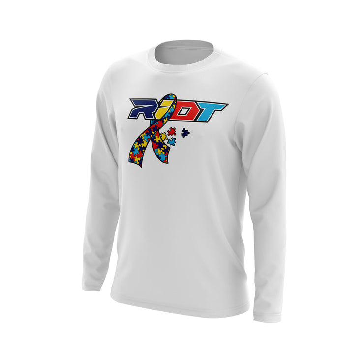 White Long Sleeve with Autism Ribbon Riot Logo
