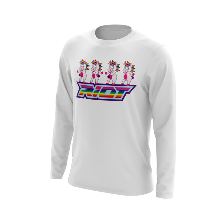 White Long Sleeve with Flossing Unicorn Riot Logo