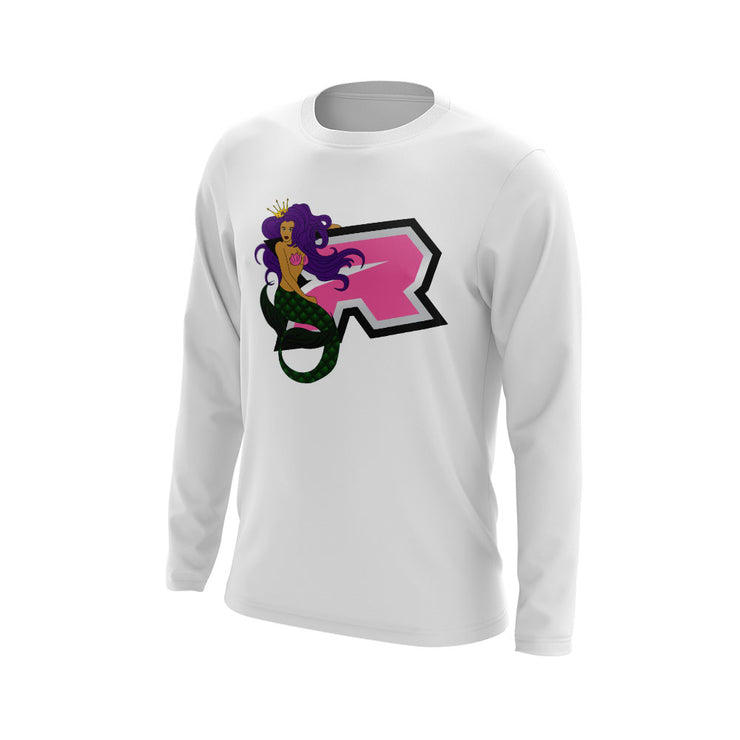 White Long Sleeve with Mermaid Pinup Riot Logo