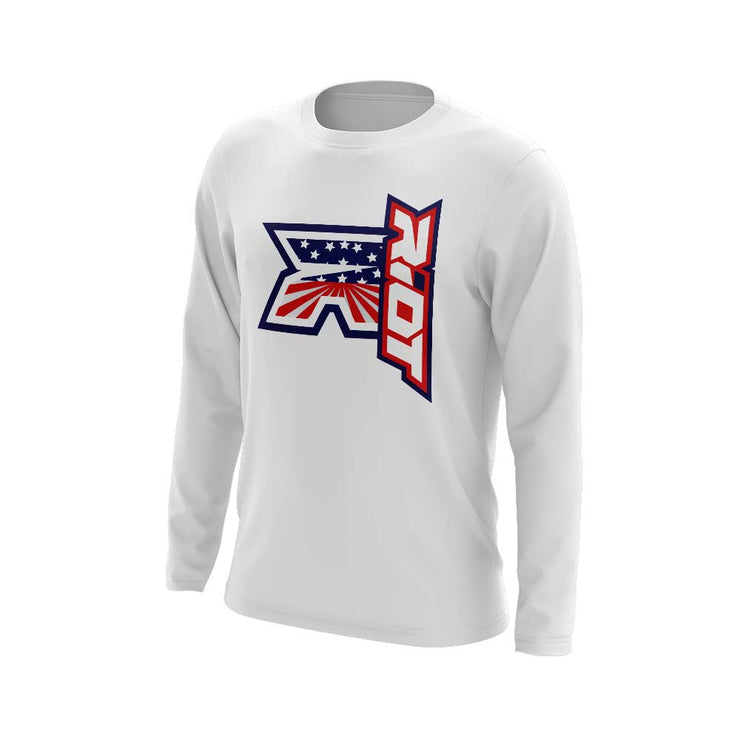 **NEW** White Triblend Long Sleeve with Stars Stripes Pattern Riot Logo