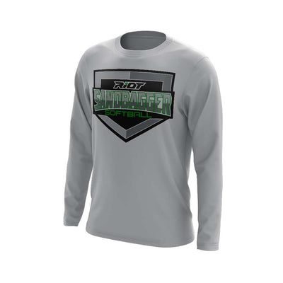 **NEW** Grey Long Sleeve Shirt with Sandbagger Riot Logo