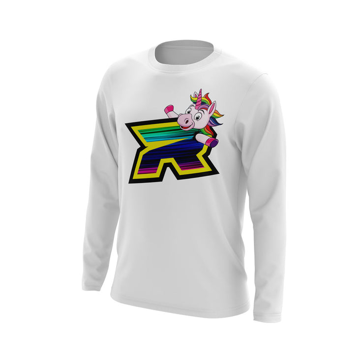 White Long Sleeve with Unicorn Riot Logo