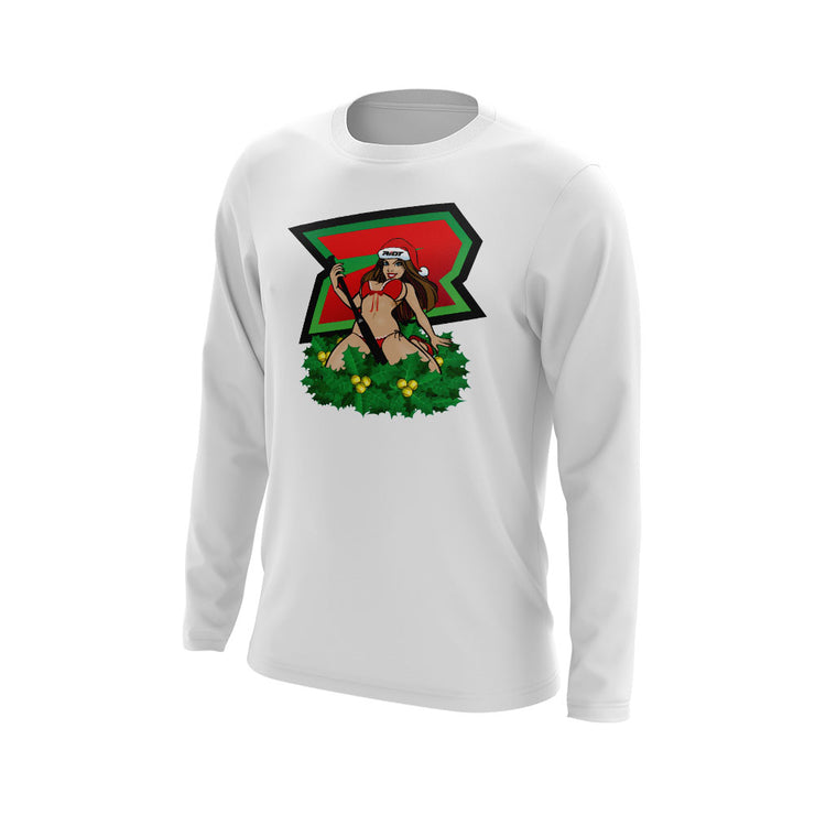 White Long Sleeve with Xmas Pinup Riot Logo