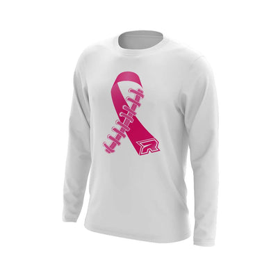 **NEW** White Triblend Long Sleeve with Football Ribbon Riot Logo - Choose your color ribbon