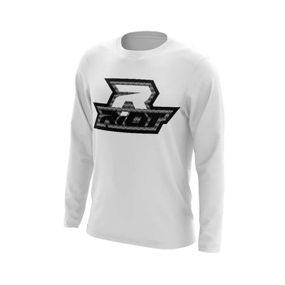 **NEW** White Triblend Long Sleeve with Hex Pattern Riot Logo