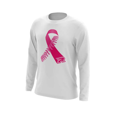**NEW** White Triblend Long Sleeve with Softball/Baseball Ribbon Riot Logo - Choose your color ribbon