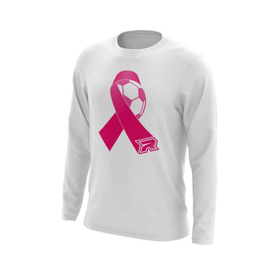 **NEW** White Triblend Long Sleeve with Soccer Ribbon Riot Logo - Choose your color ribbon