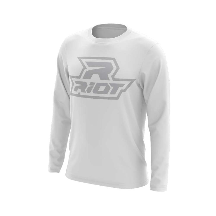 **NEW** White Triblend Long Sleeve with Silver Riot Logo