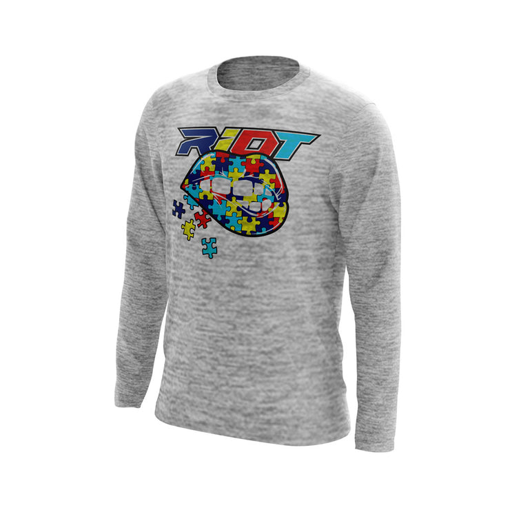 Silver Electric Long Sleeve with Autism Lips Riot Logo
