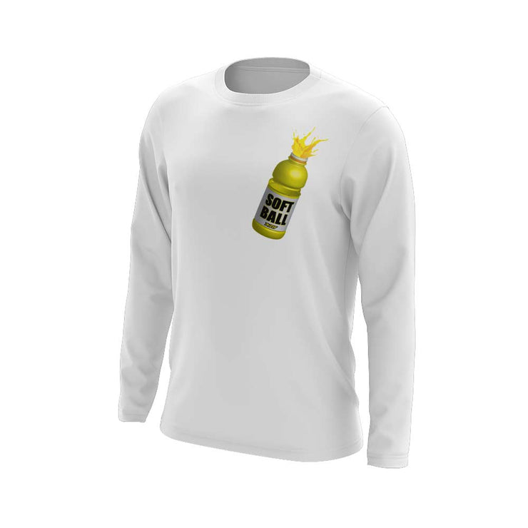 **NEW** White Long Sleeve Shirt with Softball Facts Sports Bottle Riot Logo