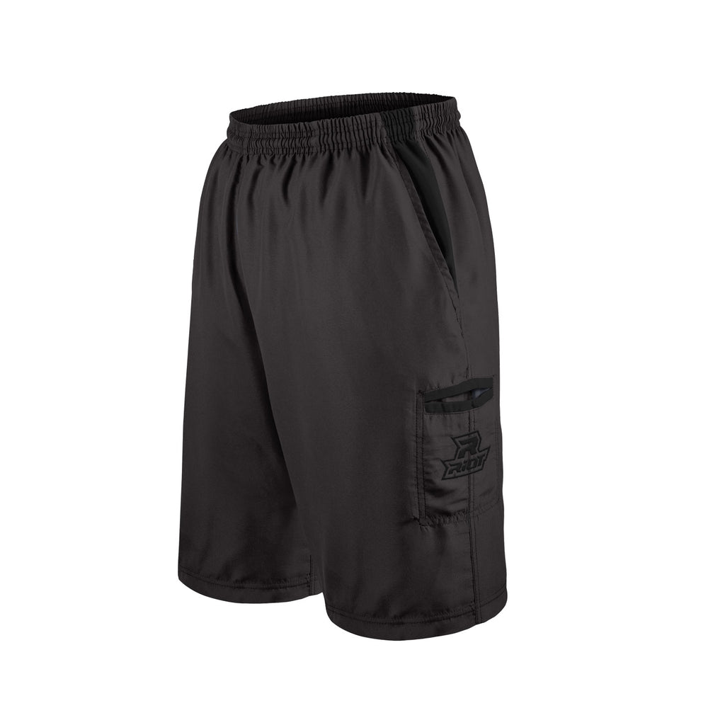 Black Shorts with Black Riot Logo