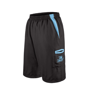 Black Shorts with Columbia Blue Riot Logo