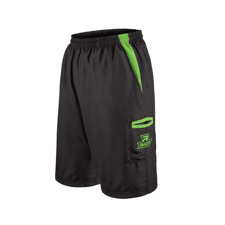 Black Shorts with Lime Green Riot Logo