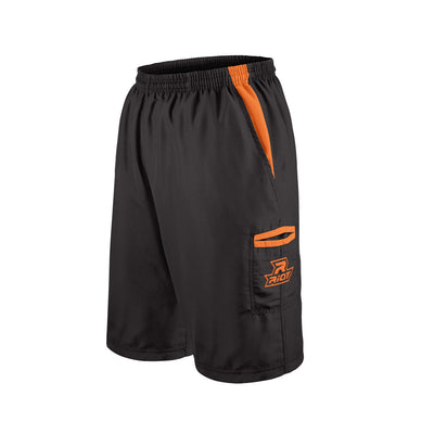 Black Shorts with Orange Riot Logo