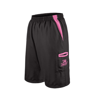 Black Shorts with Pink Riot Logo