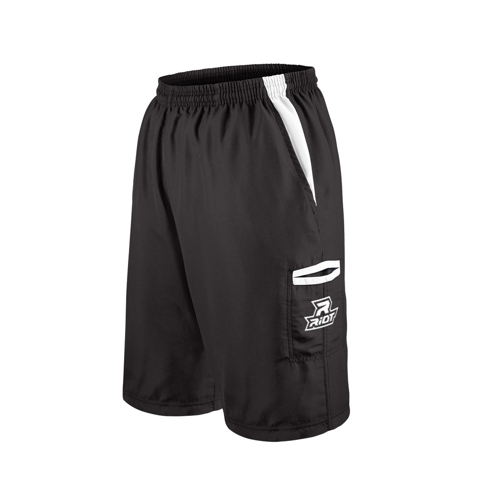 Black Shorts with White Riot Logo